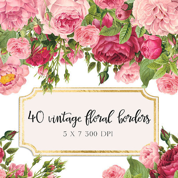 Bow clipart shabby chic. Vintage floral borders flowers