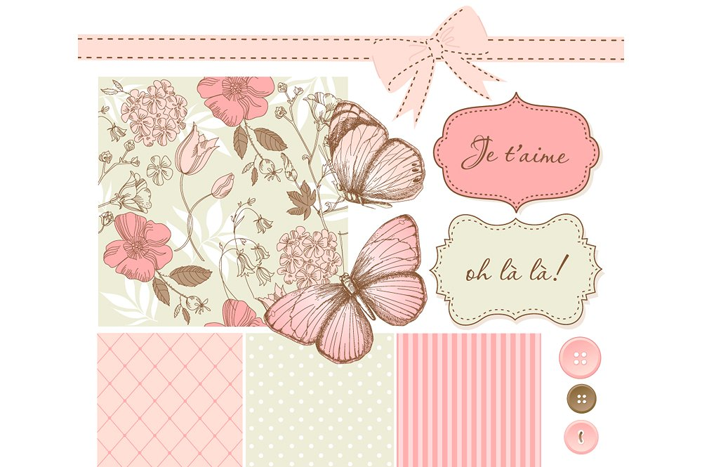 Bow clipart shabby chic. Butterfly scrapbook set illustrations