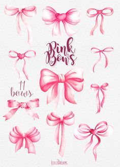 Bow clipart southern. Pink bows watercolor handpainted