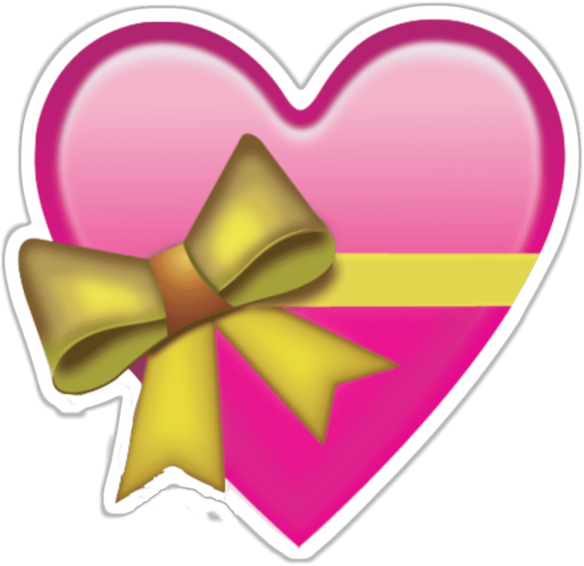 Emoji hearts png. Download heart with bow