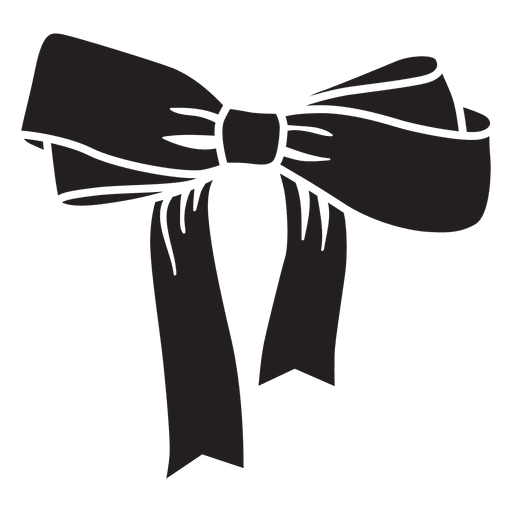 Flying vector tie. Bow black silhouette transparent