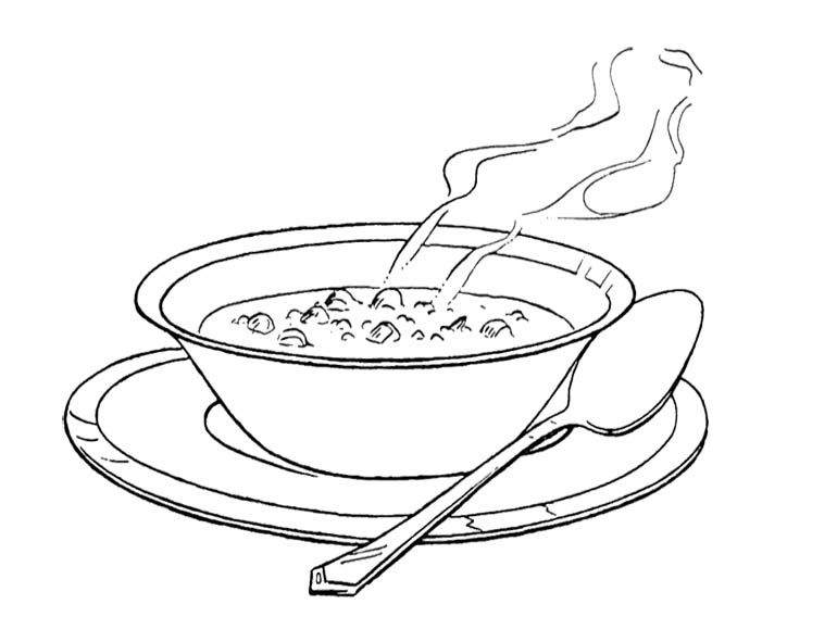 Cookbook clipart bean soup. Bowl coloring page for