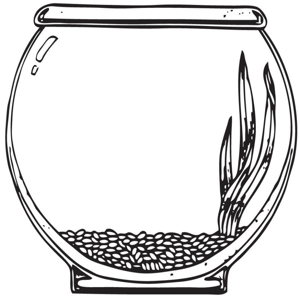 Bowl clipart colouring. Fish coloring page pencil