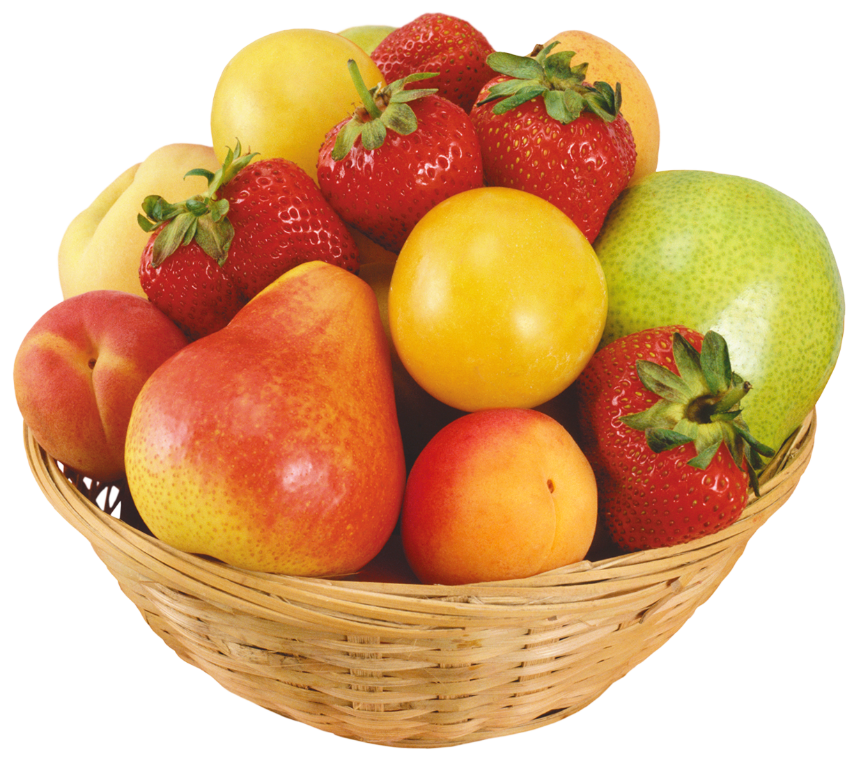 Transparent bowl fruit. Fruits in wicker png
