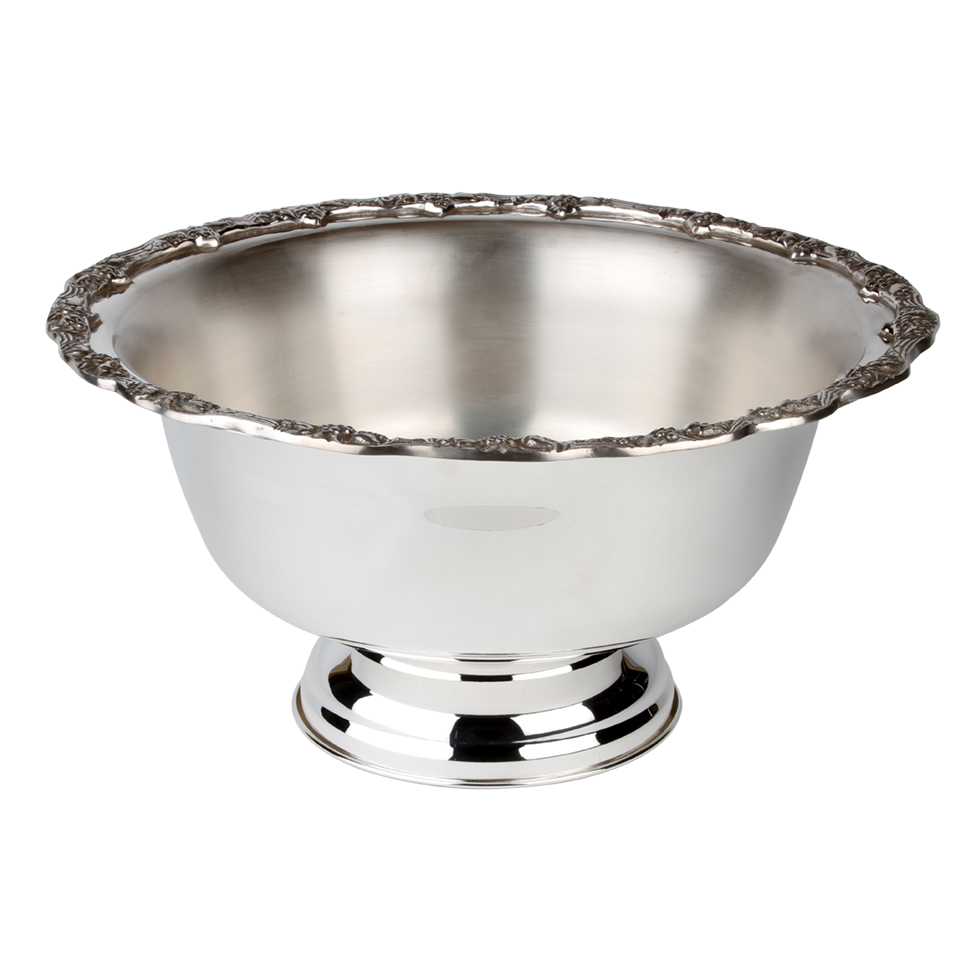 Bowl transparent silver. Punch quart rental bright