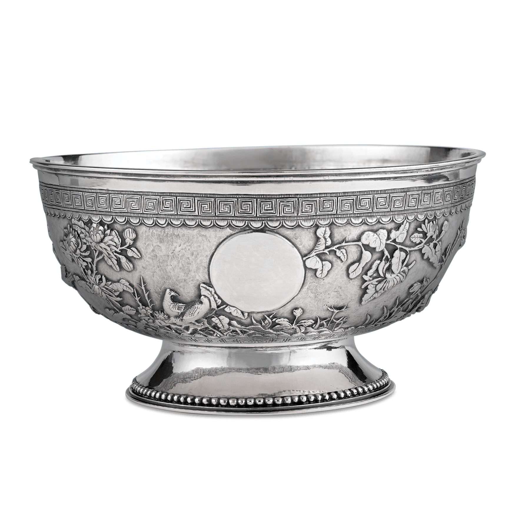 Bowl transparent silver. Antique chinese export m