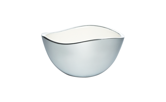 Bowl transparent 4 inch. Alloy with white enamel