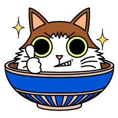 Bowl transparent cat. In line stickers store