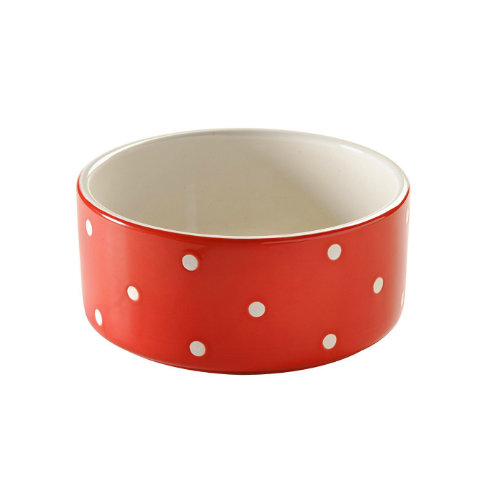 Transparent bowl cat. Polka dot red black