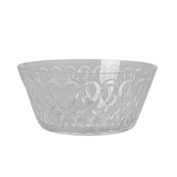 Bowl transparent clear. Acrylic with swirly embossed