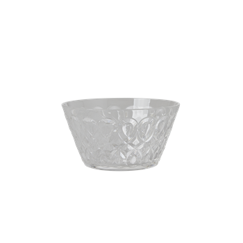 Bowl transparent clear acrylic. With swirly embossed detail