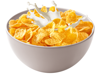bowl transparent corn flakes