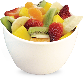 Transparent bowl fruit. Our menu