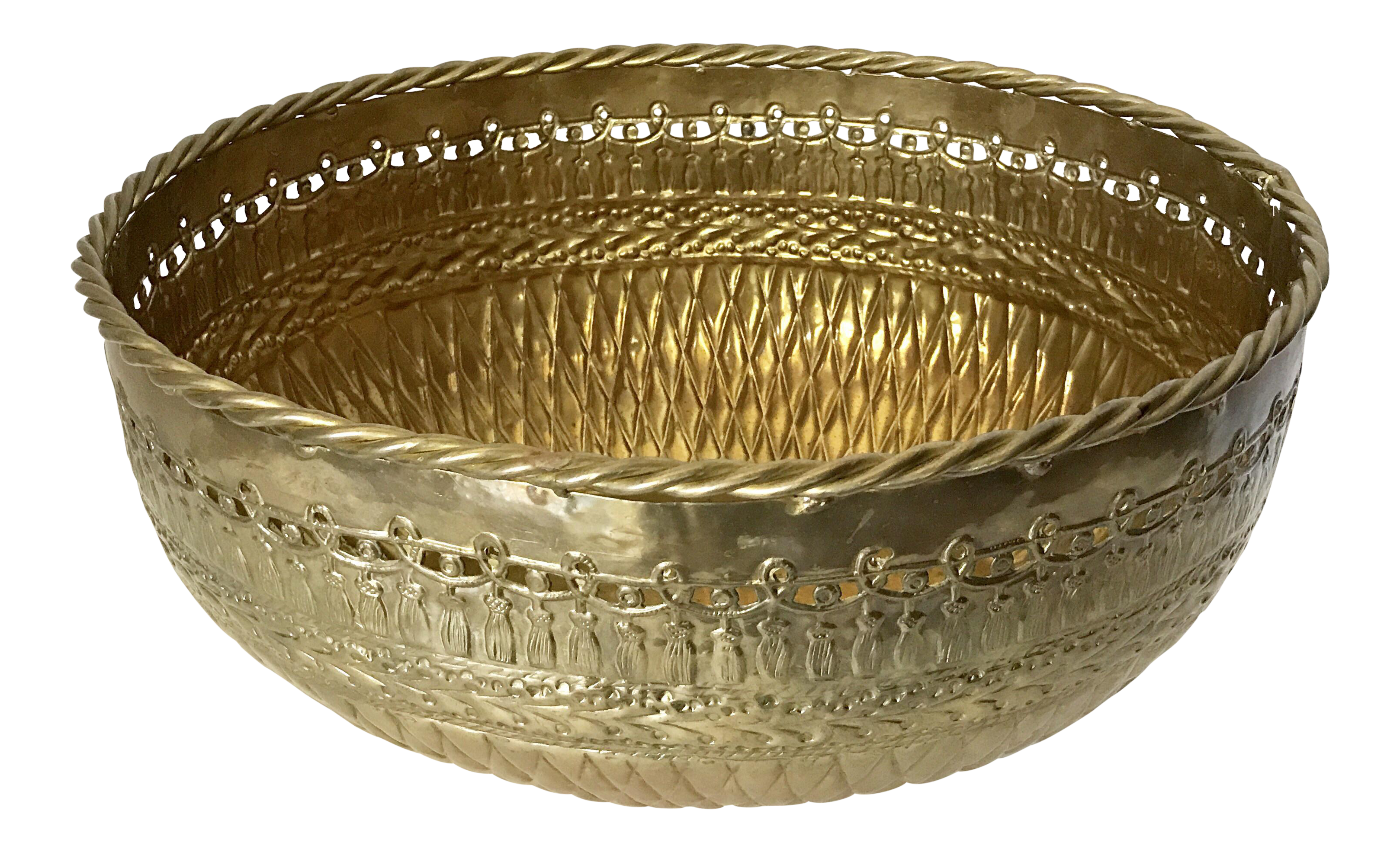 Bowl transparent huge. Brass basket weave with