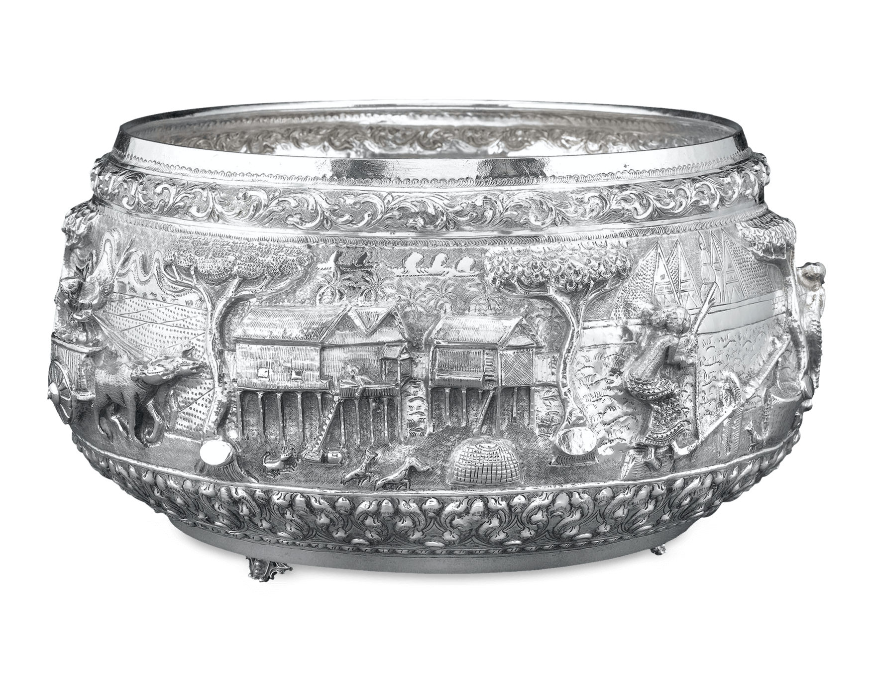 Transparent bowl silver. Antique asian burmese