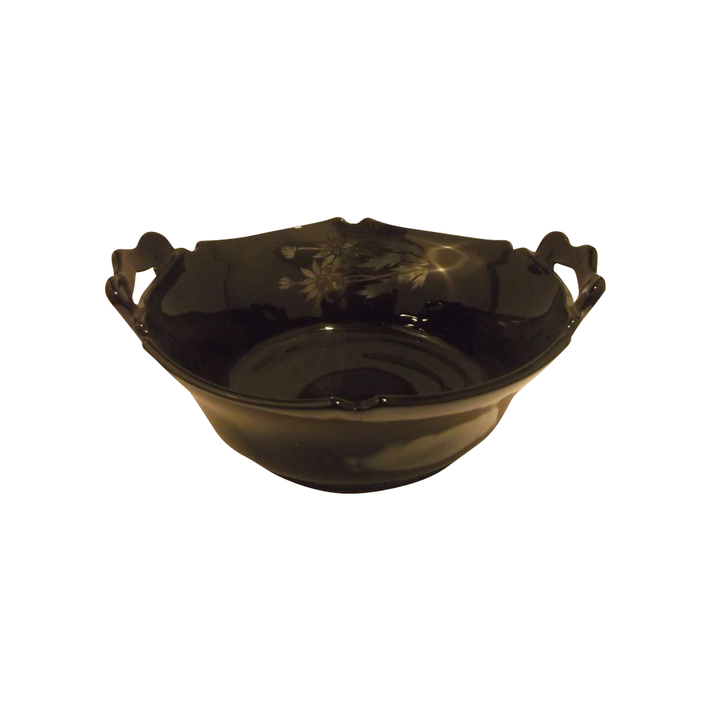 Transparent bowl silver. Mt pleasant black glass
