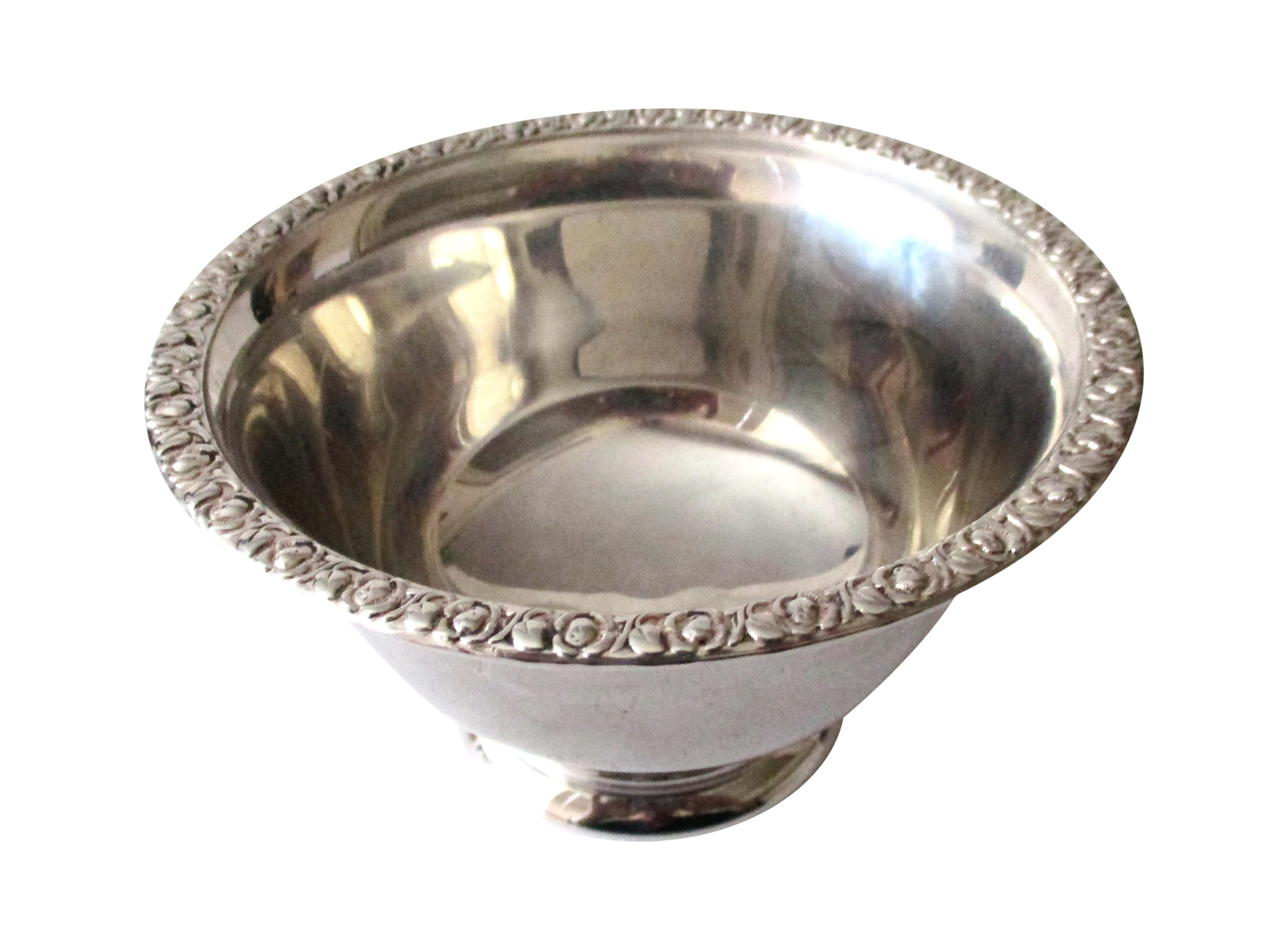 Transparent bowl silver. F b rogers co