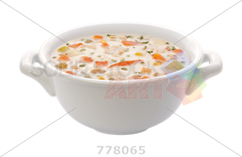 Bowl transparent soup. Stock photo of white