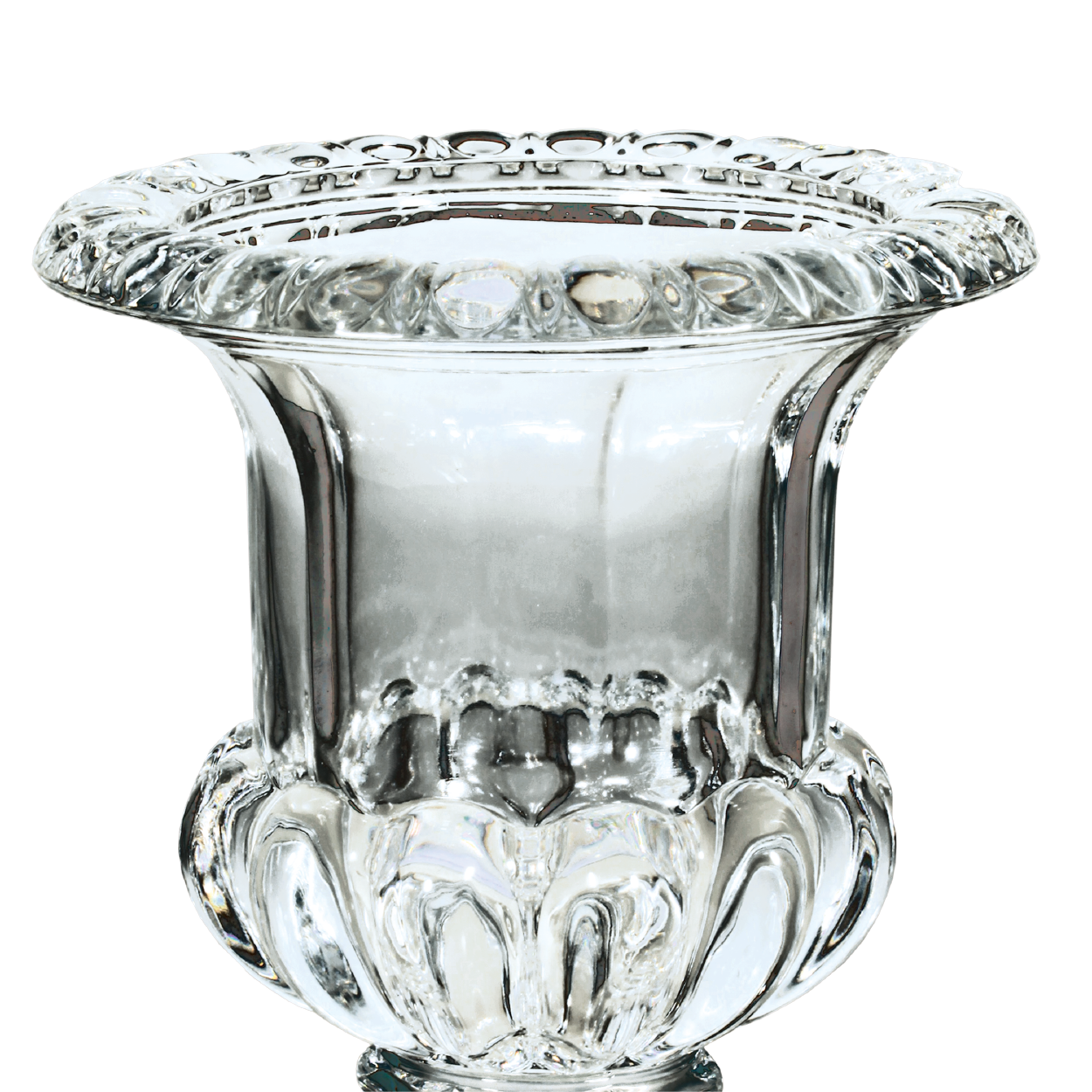 Bowl transparent tall glass. On base blades trophies