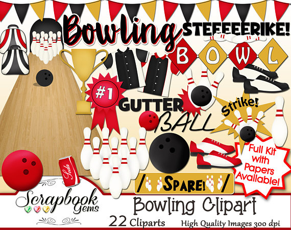 Bowling clipart banner. Png files instant download