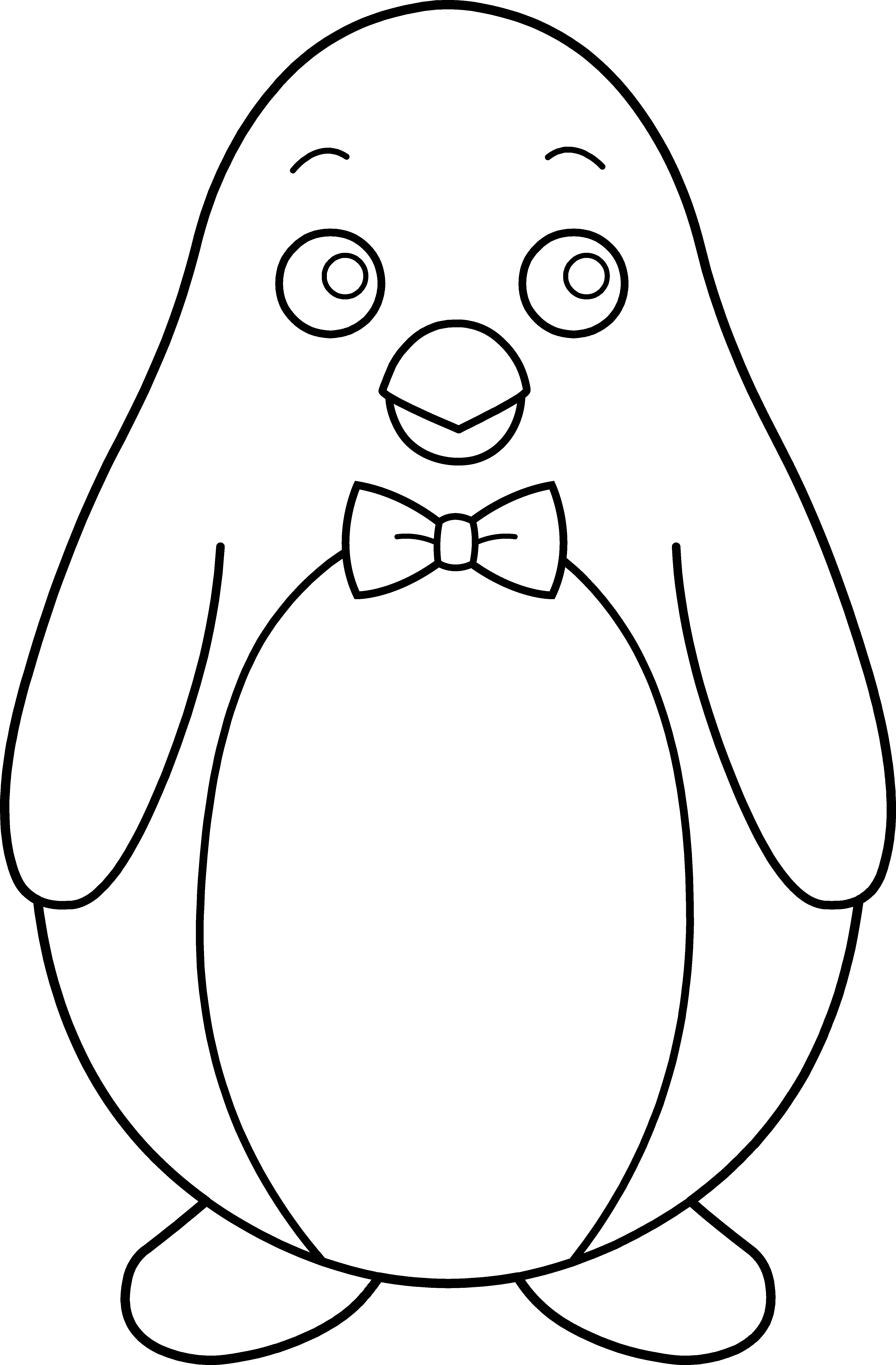 Penguin clipart black and white. Colorable with bow tie