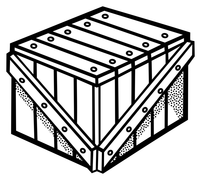 Box clipart crate. Wooden drawing line art