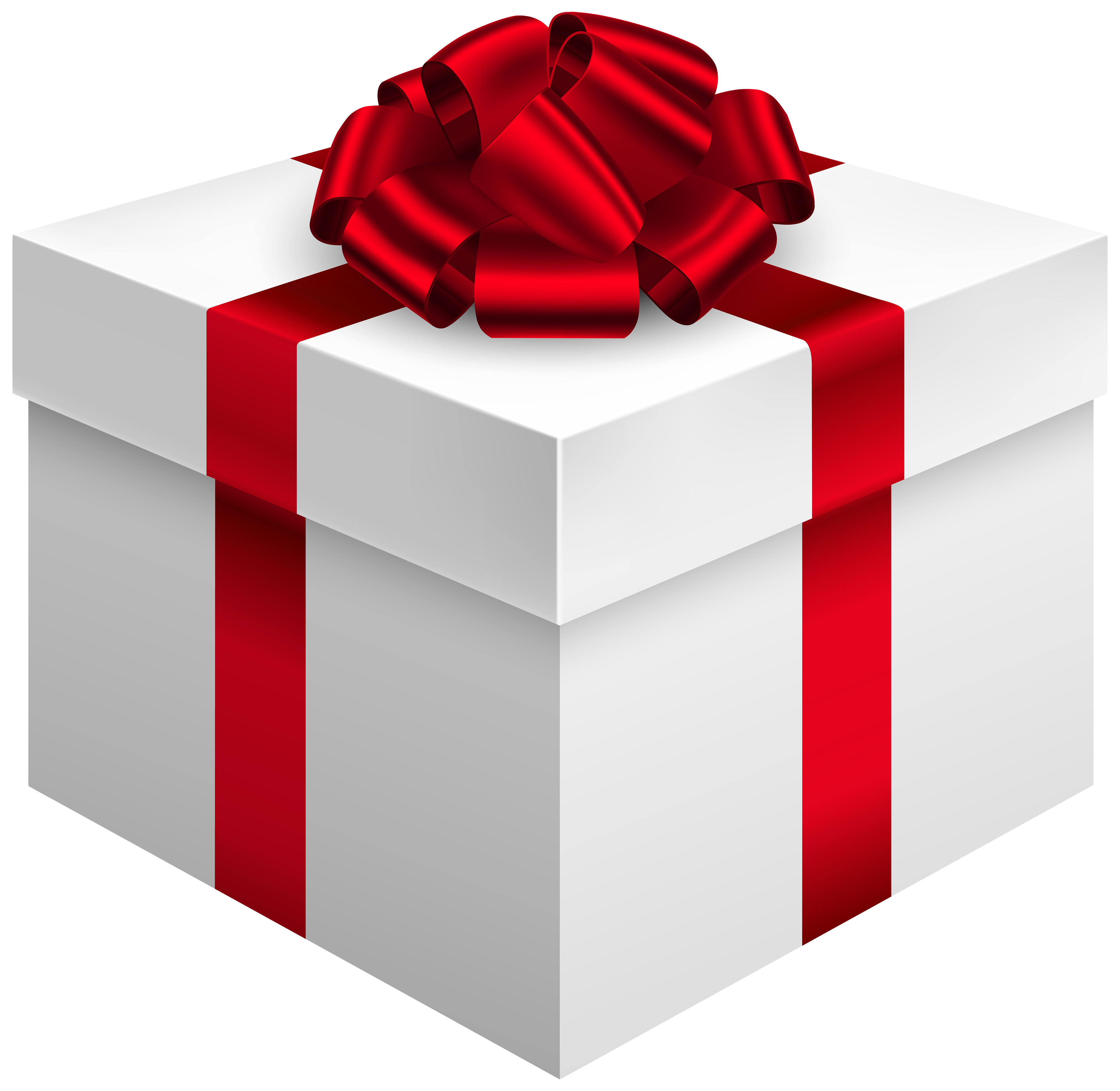 Box clipart quality. White gift with red