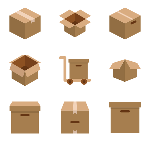 Box icons free. Packaging vector graphic transparent download