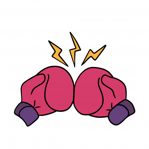 Boxing gloves punch cartoon art colored sketch sticker template.