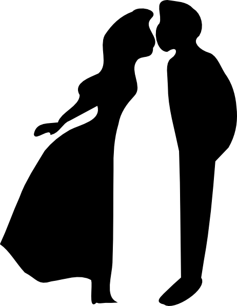Kiss clipart woman kiss. Boy and girl silhouette