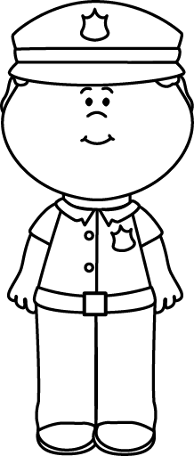 Boy clipart police officer. Black and white clip