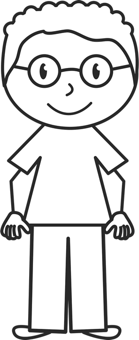 Boy stick figure png. With glasses and curly