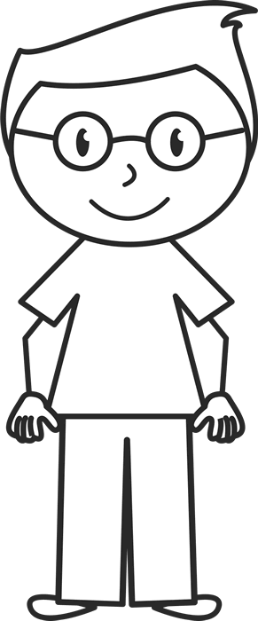 Boy stick figure png. With glasses and stylish