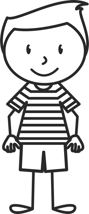 Boy stick figure png. With striped shirt rubber