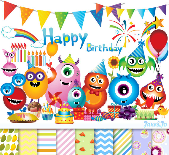 Boys clipart happy birthday. Cliparts digital papers