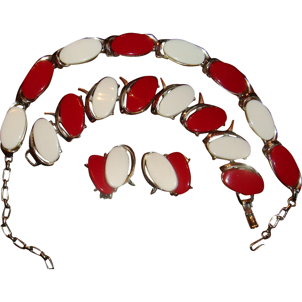 Bracelet clip red. And white thermoset silver