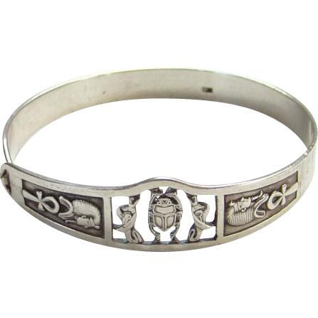 Bracelet clip sterling silver. Vintage egyptian revival bangle