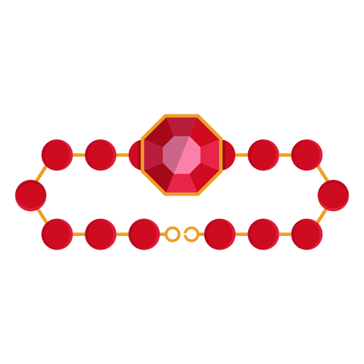 Bracelet vector circle. Red bead icon transparent