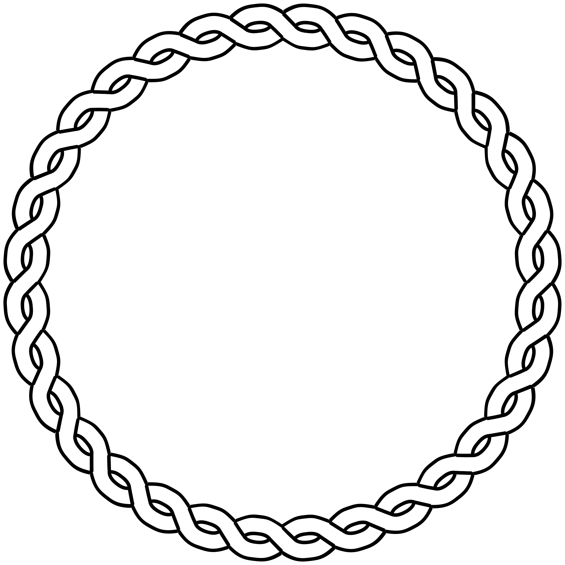 Braids vector coloring page. Rope border circle by