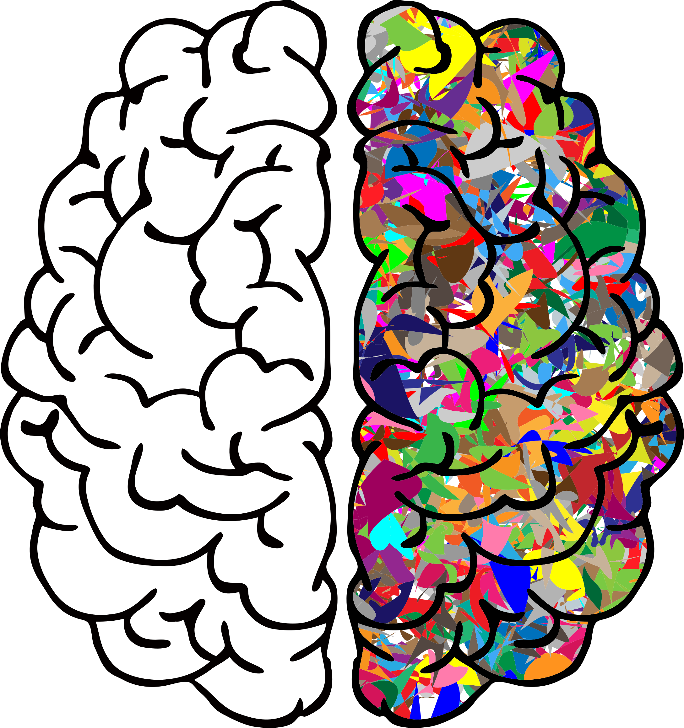 Brain png. Abstract line art prismatic