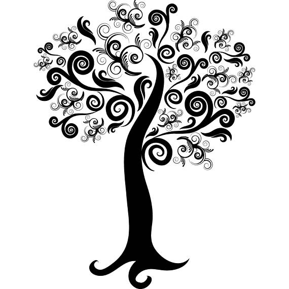 Branch clipart decorative branch. Tree flourish swirls leaves