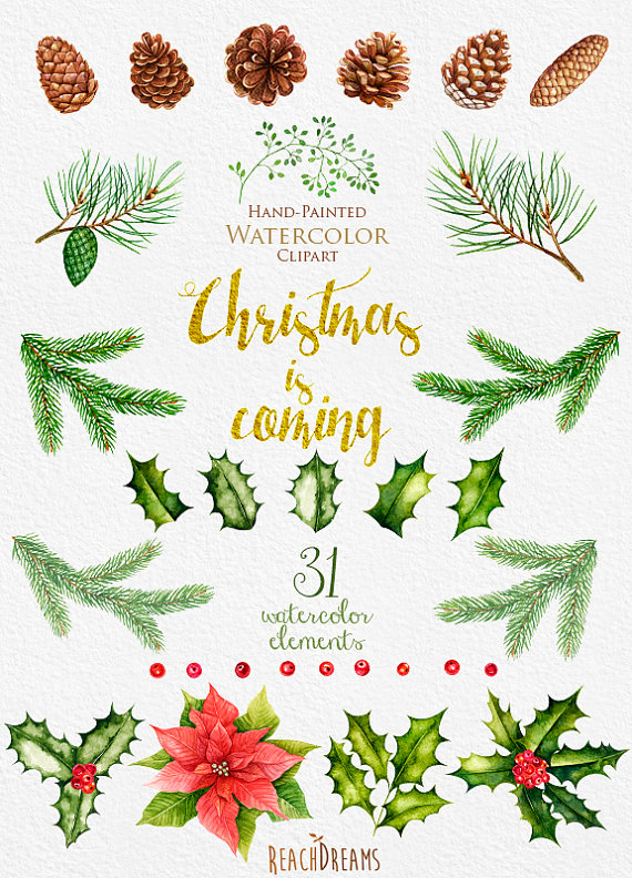 Years clipart decoration. Christmas watercolor new year