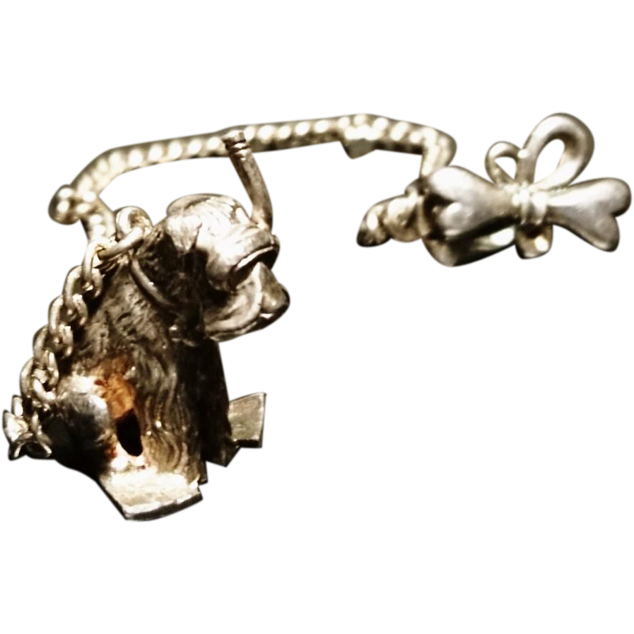 Charm clip watch. Novelty vintage silver dog