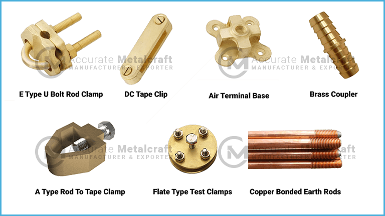 Brass clip fastener. Earthing accessories accurate metalcraft