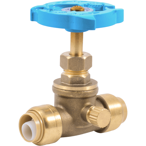 Brass clip gate. Valve with drain vent