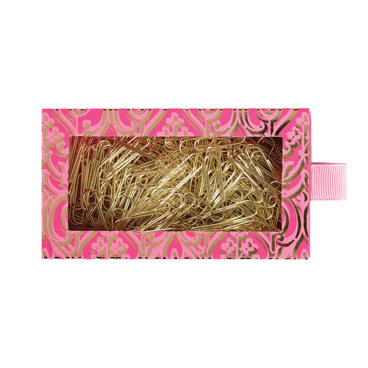 Brass clip hay. Pink gold paper clips
