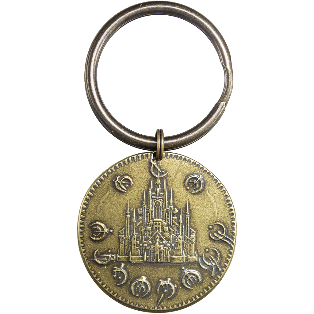 Keyring clip metal. Golden boxing of the