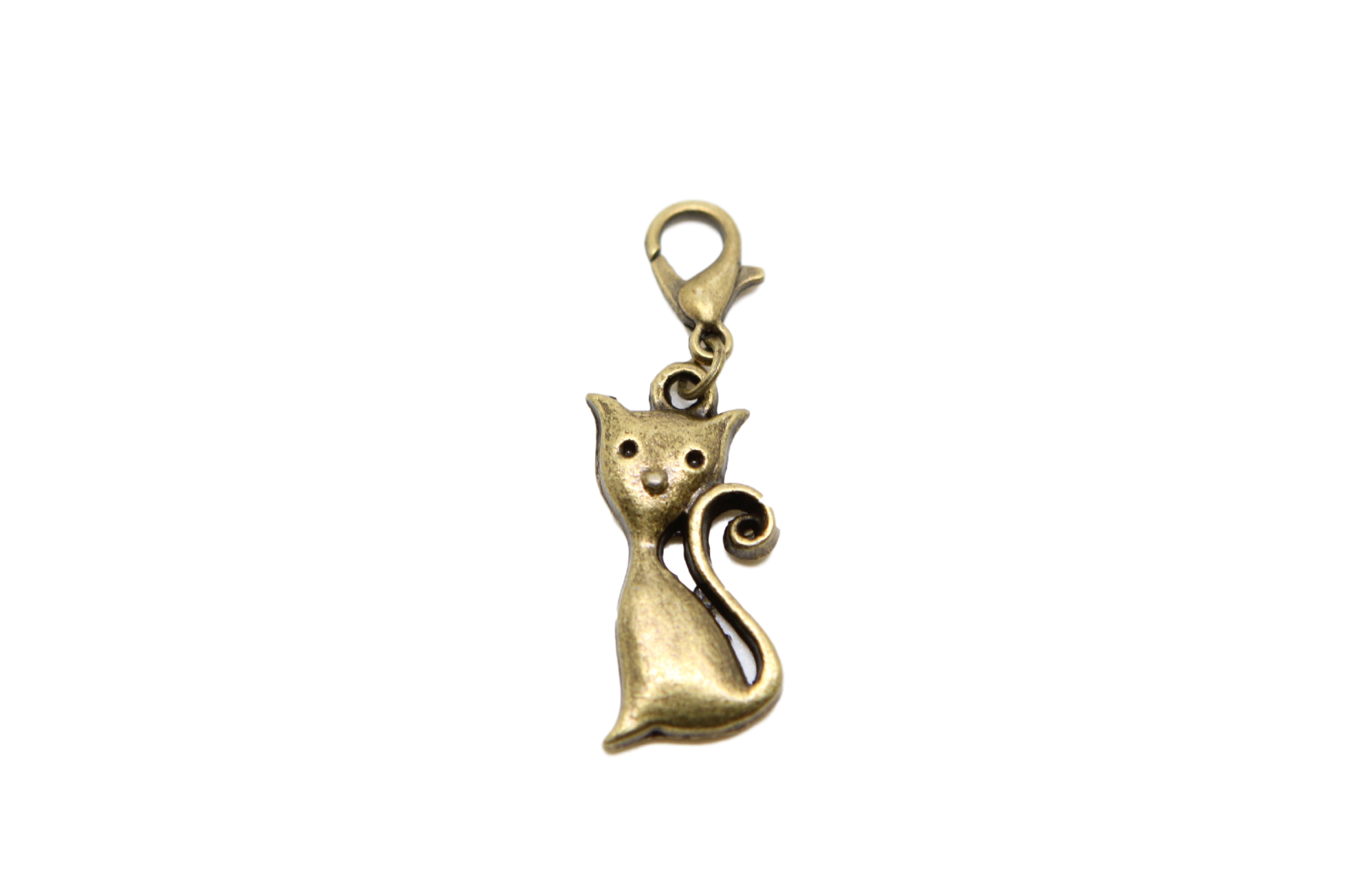 Charms clip clasp. Cat bronze charm on