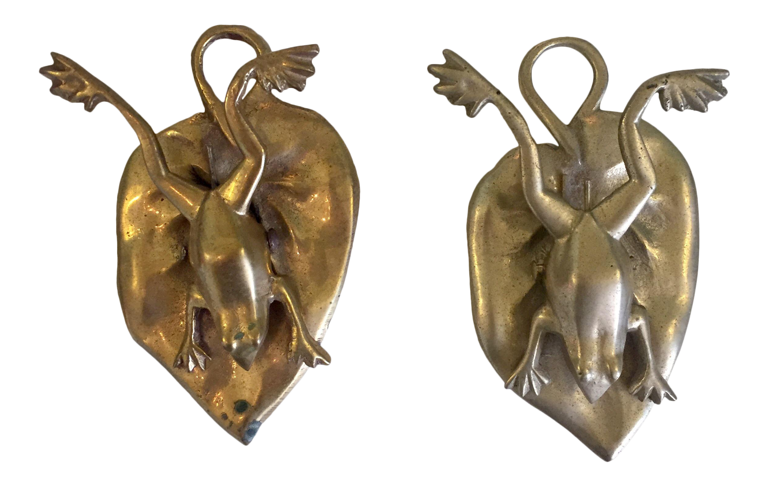 Brass clip memo. Pair of frog clips