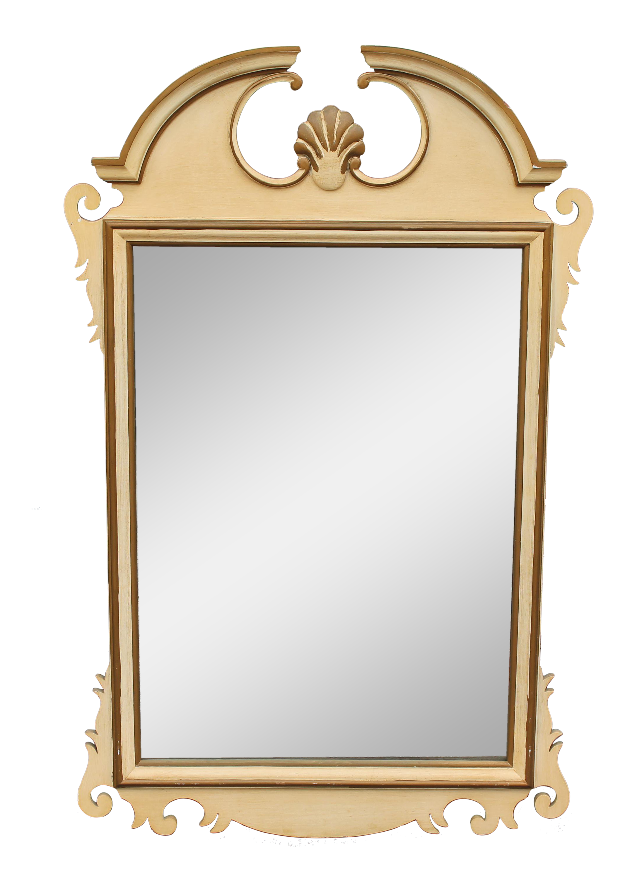 Brass clip mirror. S early american